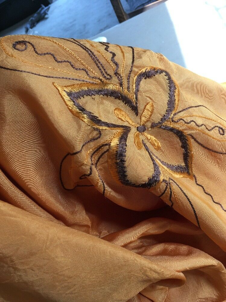 "Beautiful vintage Orange Gold satin Embroiderot quilt cover bedspread 40s 54""66"""