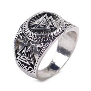 Herren-Wikinger-Ring-Valknut-Triskele-Wikinger-Mittelalter-Runenkreis-Silber-ye