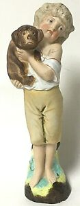 Vintage-Bisque-Porcelain-Young-Girl-With-Brown-Dog-Figurine