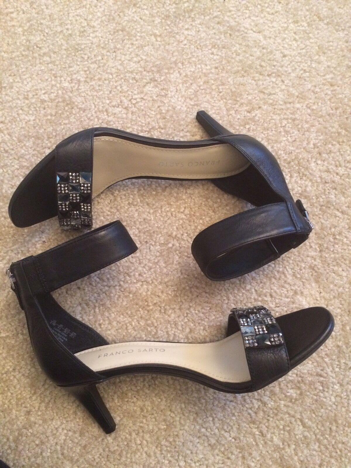 NEW Franco Sarto Black Embellished Embellished Embellished Evening Sandals Open-toe Sexy Bling Size 8.5 1beeb3
