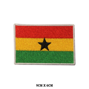 GHANA National Flag Embroidered Patch Iron on Sew On Badge For Clothe etc