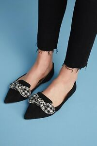 6bb355ce4bf91 Image is loading Anthropologie-Sam-Edelman-Rochester-Black-Plaid-Bow- Rochester-