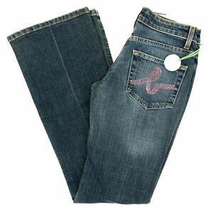 BEBE-Women-039-s-Jeans-Sophie-Bootcut-Low-Rise-Rhinestones-Medium-Wash-26-X-31-NWT