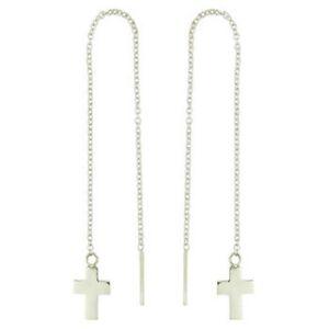 Threader-earrings-925-sterling-silver-dangle-Cross-Symbol-Long-120mm-drop-trend