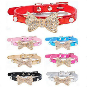 Cool-Dog-Collars-Small-Dogs-Bling-Crystal-Bow-Leather-Pet-Collar-Puppy-Necklace