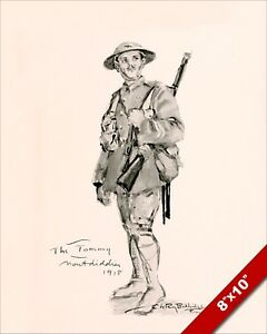 The British Army Tommy Soldier Wwi World War 1 Art Painting Real