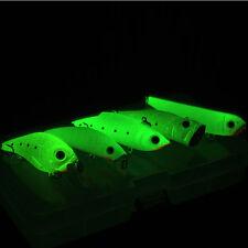 Night Fishing Bait Kit Luminous VIB Popper Crank Minnow Pencil Glow Lure w/ Box
