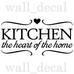 Kitchen Heart Of The Home Wall Decal Vinyl Quote Decor Sticker Family Breakfast Ebay