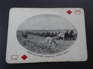 Vtg Antique Photo REAPING HORSES NORTH WEST CANADA CANADIAN Playing Card c1905