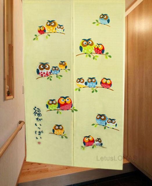 Lovely Happiness Owls House Decor Door Curtain Japanese Noren Doorway Curtain 25