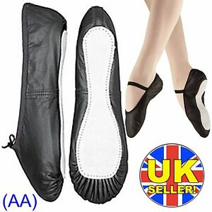 Black-Leather-Ballet-Dance-Shoes-full-suede-sole-elastics-irish-jig-pumps-AA