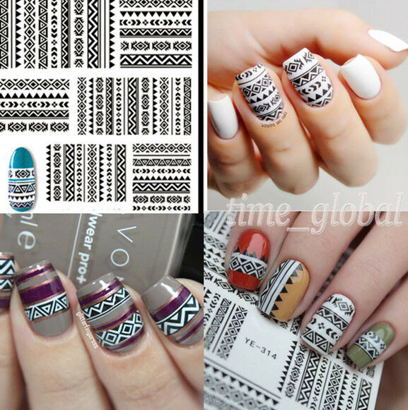 Nail Art Water Decals Transfer Stickers Tribal Geo Design Nails ...
