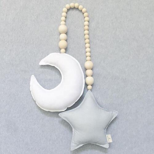 Details about  /BG/_ Nordic Wooden Beads Moon Star Hanging Ornament Nursery Kids Room Decor Eyefu