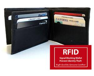 RFID-Blocking-Mens-Genuine-Leather-Bifold-Wallet-Center-Flap-10-Cards-NR