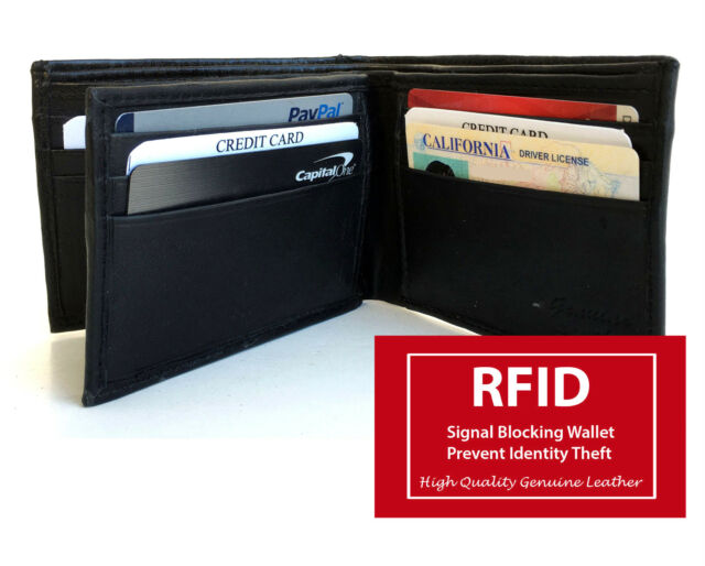 RFID Blocking Mens Genuine Leather Bifold Wallet Center Flap 10 Cards NR