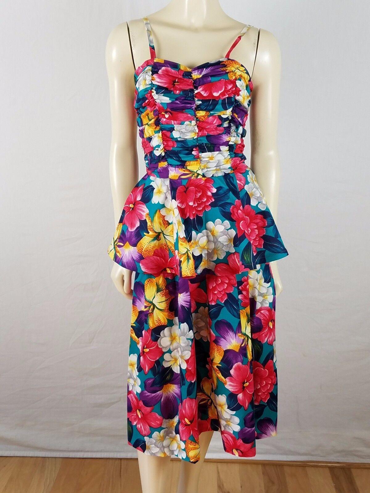BRENNER Vintage Peplum Floral Bright ColGoldt Multi-colGoldt dress Größe 7 8