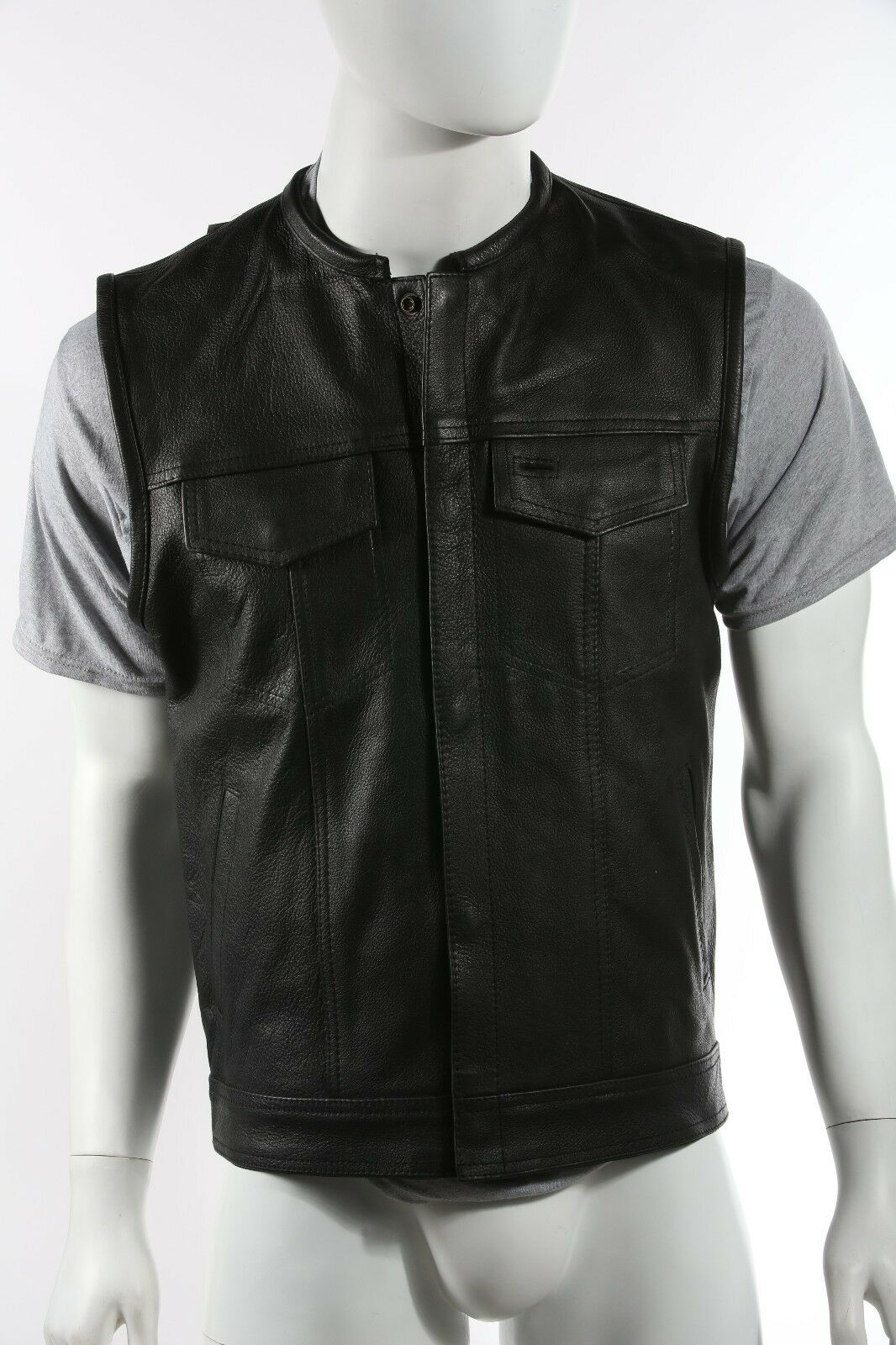 Mens 1 2  Collar Motorcycle Club Vest  MV8007-11
