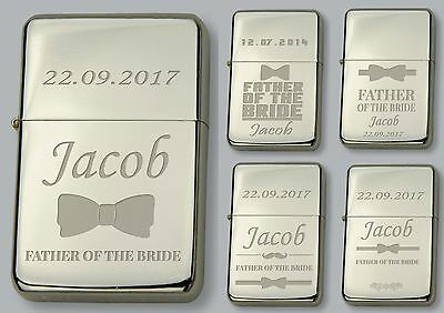 Father Of The Bride Personalised Lighter In Metal Tin Free Engraved Wedding Gift Carino E Colorato
