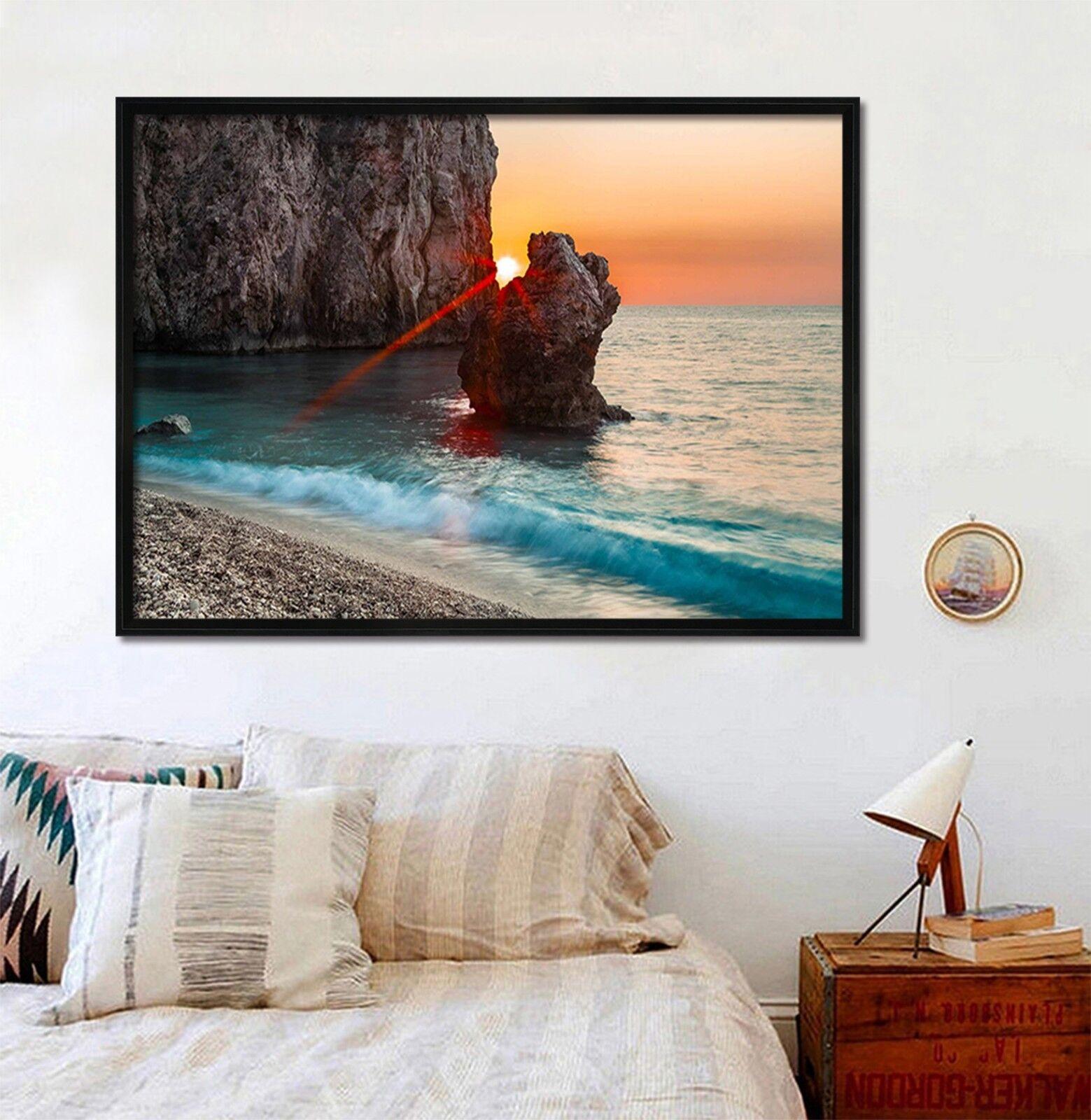 3D Sun Beach 667 Fake Framed Poster Home Decor Print Painting Unique Art Summer