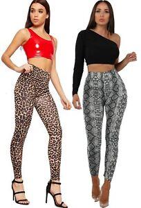 Women Ladies Animal Leopard Snake PU PVC Wet Look Shiny Legging Fashion Pant New