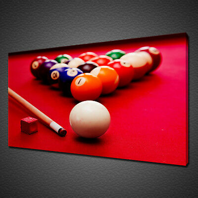 RED BILLIARD SNOOKER POOL TABLE BALLS CANVAS PRINT WALL ART PICTURE PHOTO