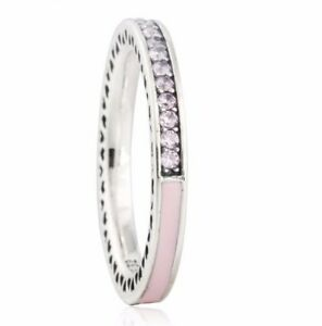 722bfd99e GENUINE S925 SILVER RADIANT HEARTS OF PINK STACKING RING BAND SIZE ...