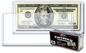 BCW-Topload-Holders-Rigid-Plastic-For-Modern-Currency-Banknotes-Pack-of-25
