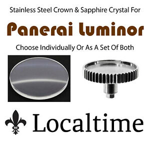 Stainless-Steel-Crown-amp-Sapphire-Crystal-Service-Replace-Screw-Panerai-Luminor