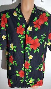Hawaiian-Men-Shirt-Large-Black-red-hibiscus-hawaiian-aloha-shirt-Camp-shirt
