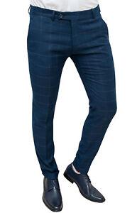 c7920d71eeed85 Caricamento dell'immagine in corso Pantalone-uomo-Sartoriale-blu-quadri- elegante-formale-slim-
