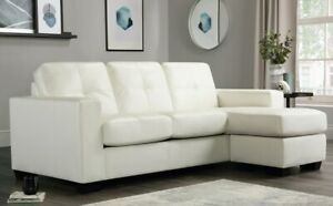 Details about Rio Ivory Leather Corner Sofas Group Settee Unit