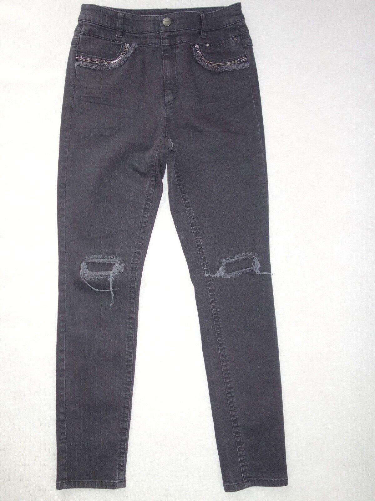 MARCCAIN moderne Jeans mit Zierketten Applikation  Gr. N2 N5 N6  NEU black