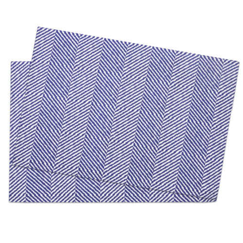 """Table Placemat Set 100/% Cotton Trends Feather Pattern 13/""""x19/"""" 2 Pack"""