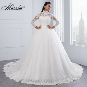 High-Neck-IIIusion-Back-Long-Sleeve-Wedding-Dress-Lace-Ball-Gown-Wedding-Gowns
