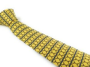 HERMES-PARIS-Tie-5252-MA-Yellow-and-Navy-Blue-NWOT-New-Condition-Necktie