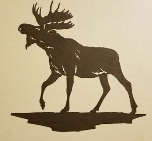 Image Is Loading Moose Metal Wall Decor Log Cabin Lodge Rustic