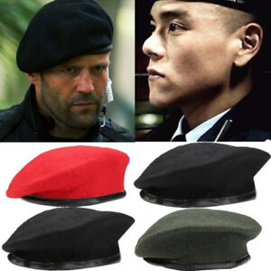 9e4b0f1402e1 Image is loading Unisex-Military-Army-Soldier-Hat-Wool-Beret-Men-