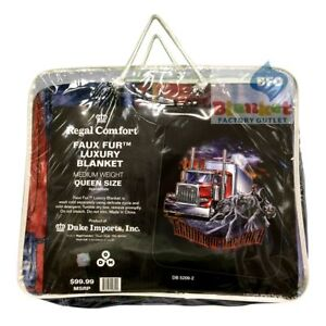 """Semi Truck Leader of the Pack Panther Faux Fur Queen Size Blanket 79"""" x 96"""" NEW"""