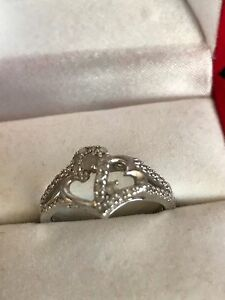 Sterling Silver Entwined Hearts Promise Anniversary Diamond Ring 1