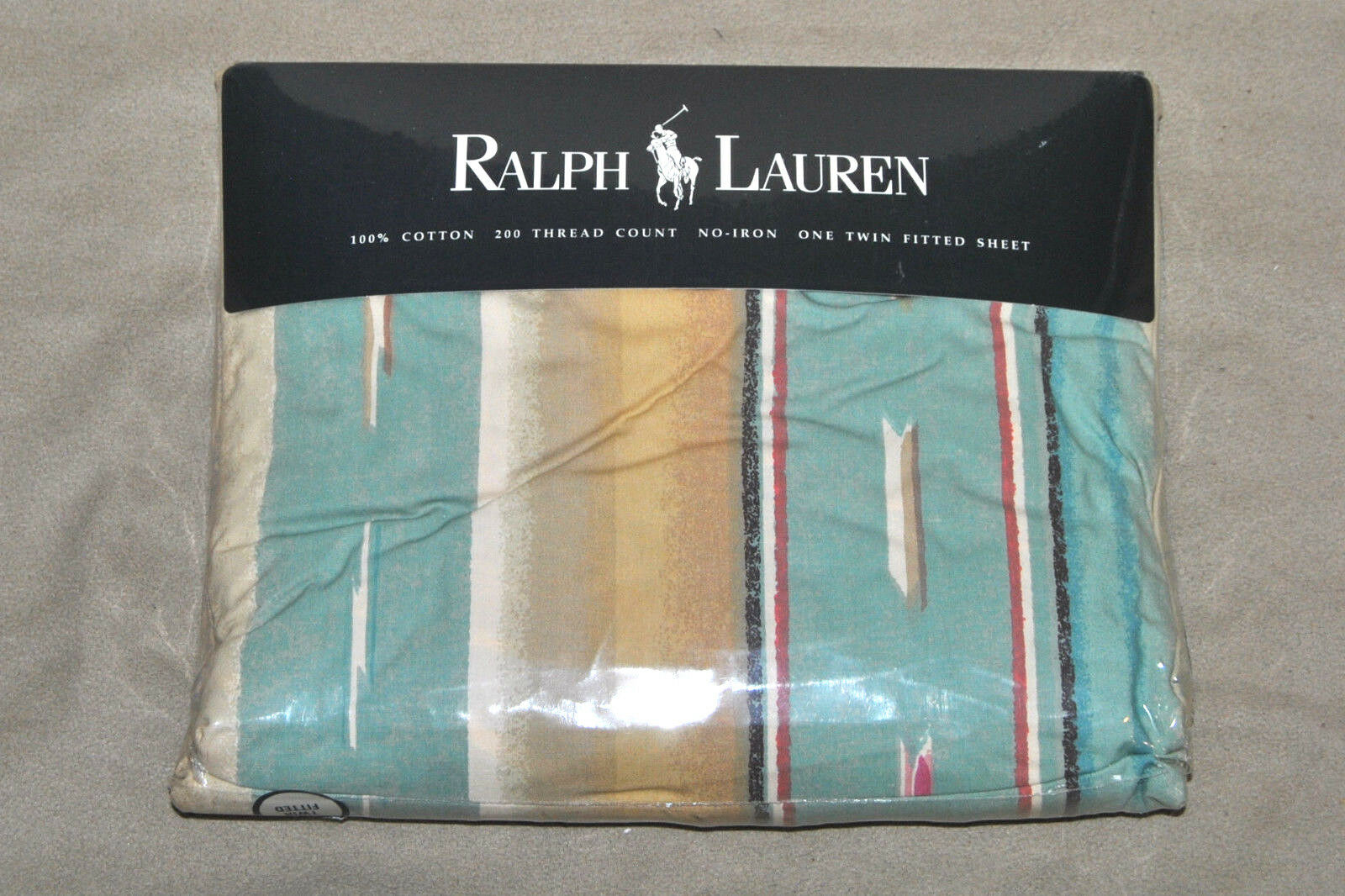 Rare Vintage Ralph Lauren Mesa Aqua Southwestern TWIN Fitted Sheet UNUSED