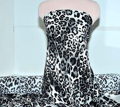 SLINKY BLACK WHITE LEOPARD STRETCH FABRIC, BLOUSES, DRESSES, COSTUME, PANTS