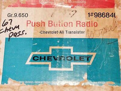 Nos 1967 Chevrolet Chevy Impala SS Super Sport Caprice  AM push Button Radio Kit