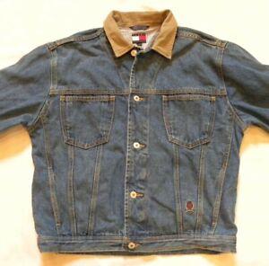 Details about Vintage 90s Tommy Hilfiger Mens Denim Trucker Jacket Blue Jean Crest Logo Large
