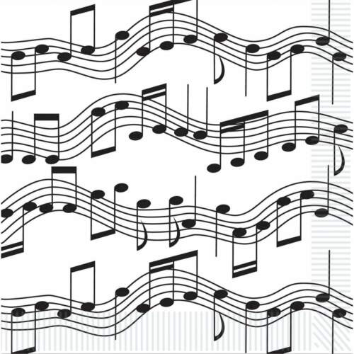 MUSICAL NOTES BEVERAGE NAPKINS PARTY TABLE DECORATIONS MUSIC ROCK N ROLL JAZZ