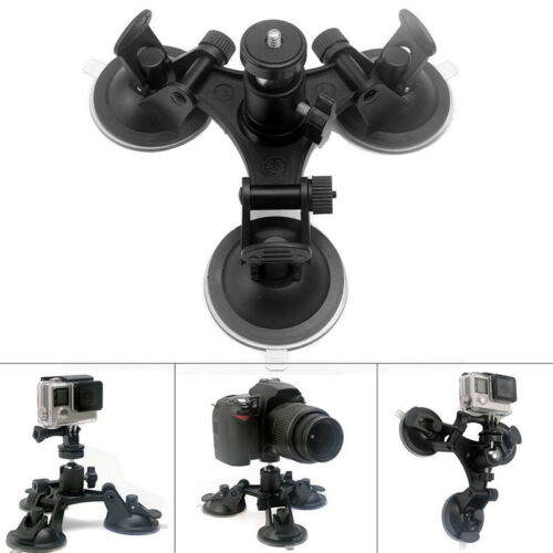 For Go Pro Hero Series Action Camera Triple Suction Cup Mounts Durable Accessory
