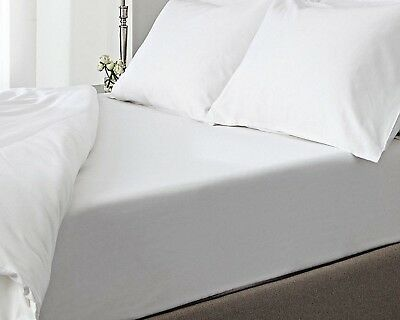 WHITE 100/% COTTON /& POLY FITTED BED SHEET SINGLE DOUBLE KING SUPER KING LOT