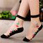 Women-Transparent-Thin-Roses-Flower-Lace-Socks-Crystal-Glass-Silk-Short-Socks miniature 2