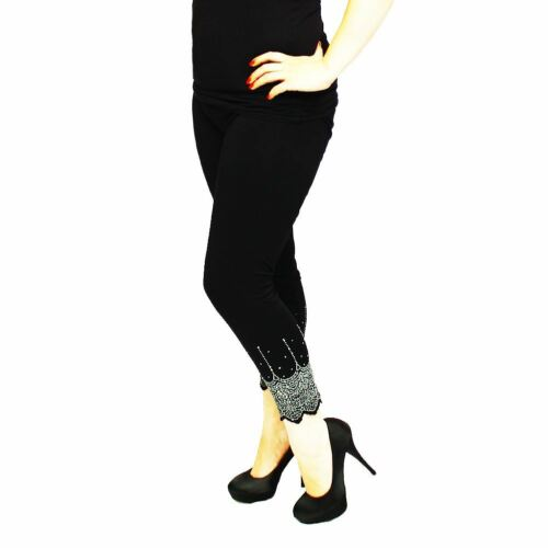 Black leggings with silver sequined hems