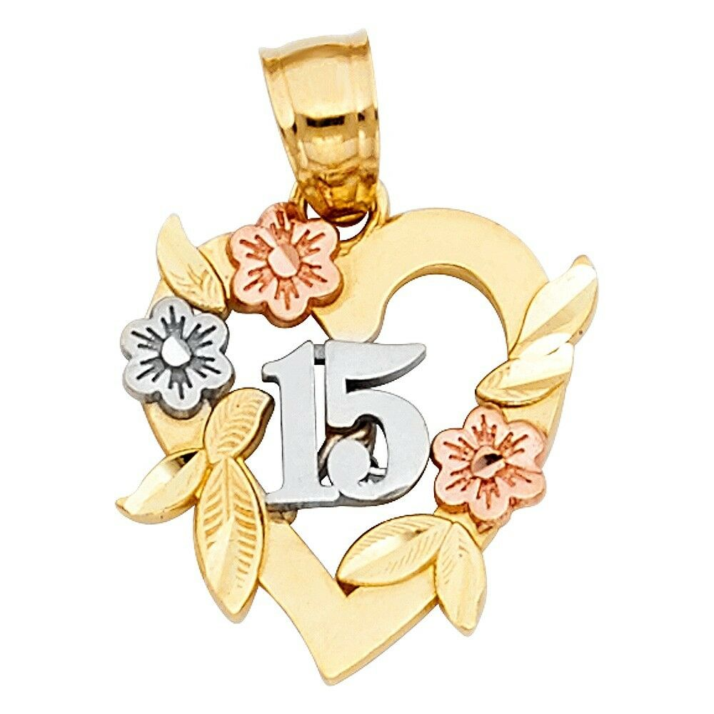 Quinceanera 15 Anos 14k Solid gold Tri colord Charm Flower 16mm Floral Pendant