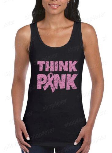 Think Pink Women/'s Tank Top Breast Cancer Awareness Ribbon Tank Tops